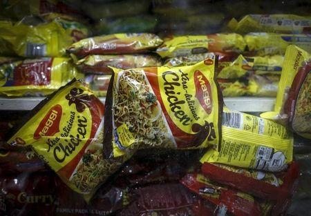 Packets of Nestle's Maggi instant noodles are seen on display at a grocery store in  Mumbai