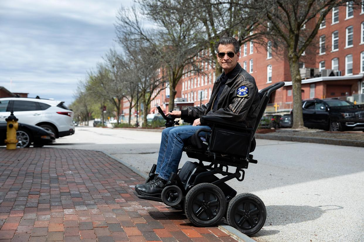 Dean Kamen, inventor of the iBOT personal mobility device, demonstrates how the iBOT easily drives over curbs, on May 3, 2021, at DEKA, in Manchester, New Hampshire.  (Kayana Szymczak for Yahoo News)
