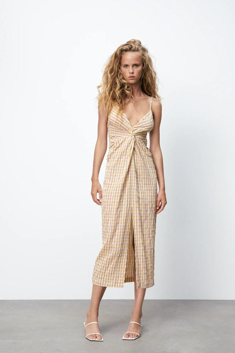 <p>There's something about this <span>Gingham Dress</span> ($50) that makes it ideal for a beachside dinner, where all you have to worry about is when the next cocktail is coming. The color reminds us of the sunset, while the twist detail adds a hint of passion and conveys confidence.</p>