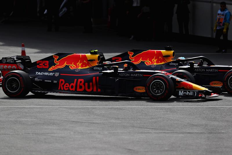 The two Red Bulls crashed after battling for position, resulting in a double retirement. (Getty Images)