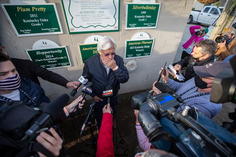 Trainer Bob Baffert talks with the media the morning after winning the Kentucky Derby with Medina Spirit. One week later it was announced that the horse tested positive for an abundance of an anti-inflammatory drug following the race.