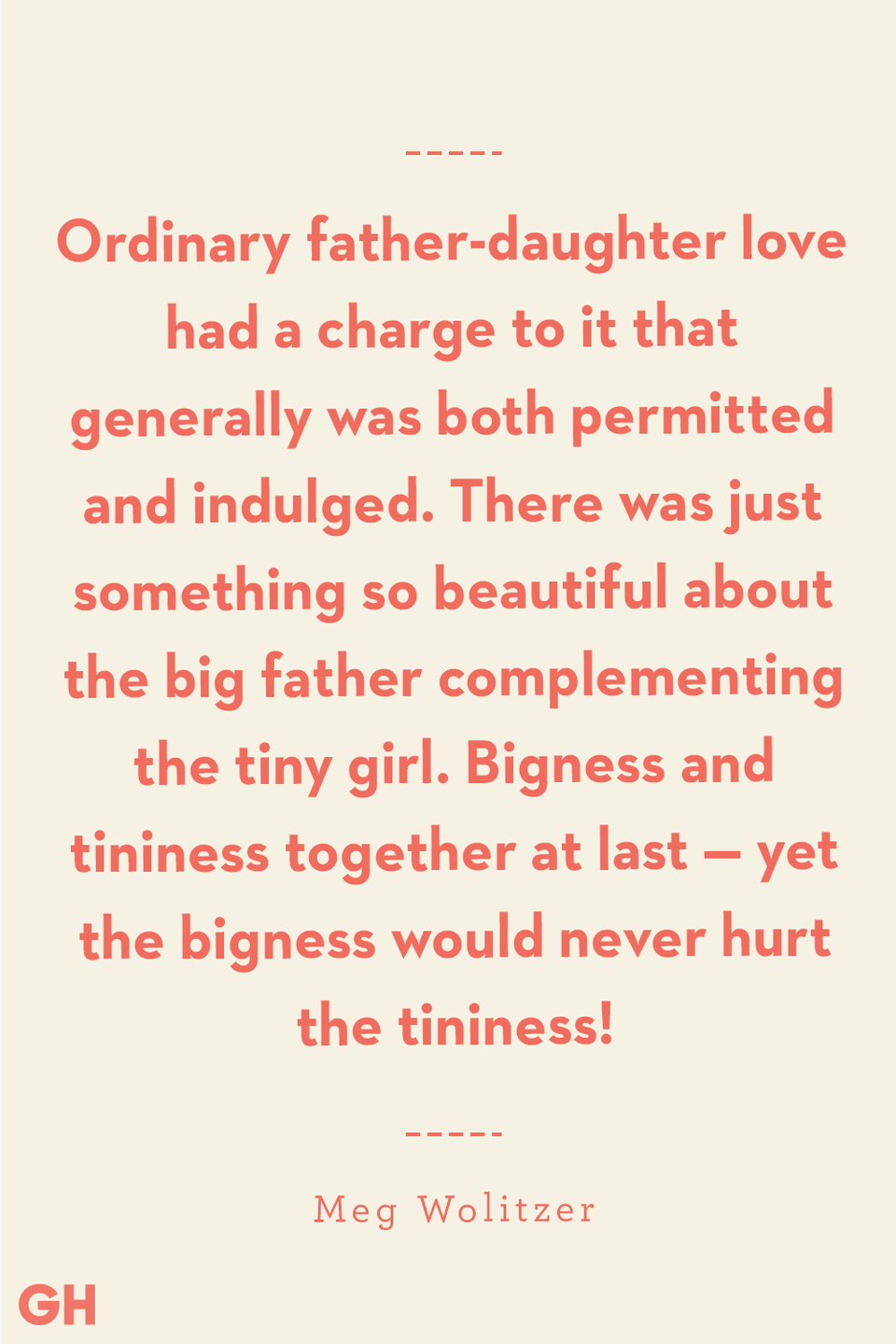 <p>Ordinary father-daughter love had a charge to it that generally was both permitted and indulged. There was just something so beautiful about the big father complementing the tiny girl. Bigness and tininess together at last — yet the bigness would never hurt the tininess!</p>