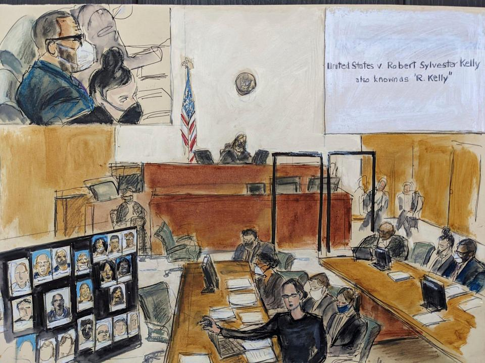 In this illustration drawn from a video feed, Assistant U.S. Attorney Elizabeth Geddes, bottom, presents her closing statement to the jury, pointing to a large panel of photos of R. Kelly's inner circle and employees on Sept. 22 in New York. R. Kelly is depicted at the defense table in inset on upper left.
