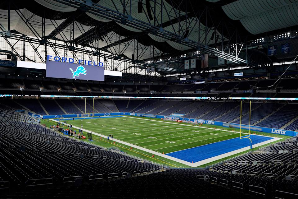 Ford Field, home to the Detroit Lions, is seen before drills at practice, Wednesday, Sept. 2, 2020, in Detroit.