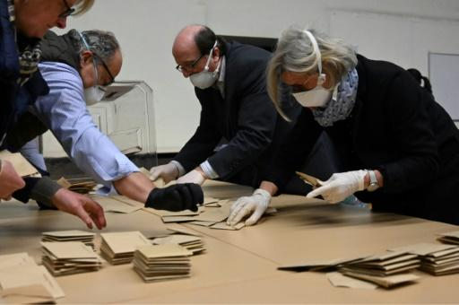 Electoral workers counting ballots in Strasbourg, eastern France, on Sunday after nationwide municipal elections
