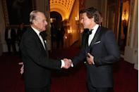 """<p>A handshake is the standard greeting between a celebrity and a royal. <a href=""""https://www.royal.uk/greeting-member-royal-family"""" rel=""""nofollow noopener"""" target=""""_blank"""" data-ylk=""""slk:According to the royal family's website"""" class=""""link rapid-noclick-resp"""">According to the royal family's website</a>, """"there are no obligatory codes of behaviour when meeting The Queen or a member of the Royal Family,"""" but many people prefer to simply shake hands """"in the usual way."""" </p>"""
