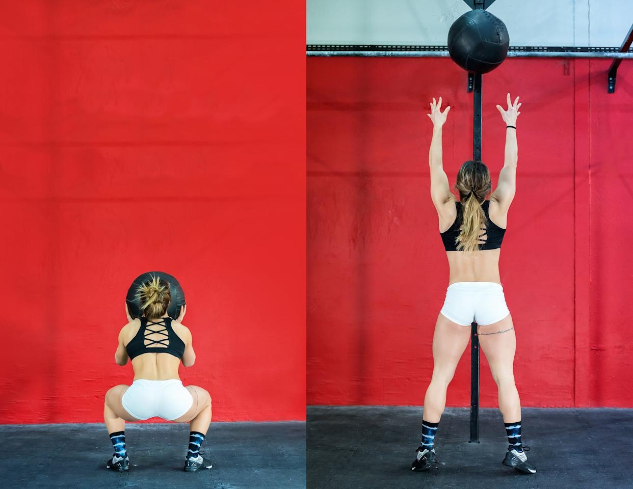 <ul> <li>Stand in front of a wall holding your medicine ball with both hands in front of your chest.</li> <li>Squat down low with your hips below your knees. As you straighten your legs, throw the ball up to a specific spot on the wall or a target, about eight to 10 feet from the floor. You want to use the power of your lower body to propel the ball up, coming onto the balls of your feet.  </li> <li>Keep your arms extended, ready to catch the ball after it bounces off the wall. This counts as one rep.</li> <li>Complete 15 wall balls.</li> </ul>