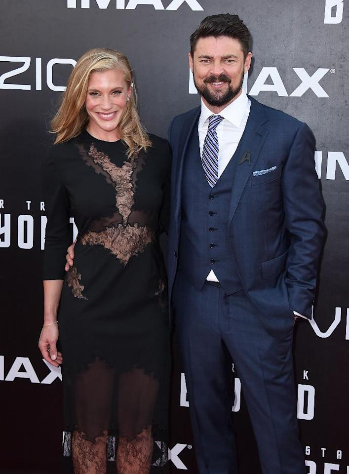 "Katee Sackhoff, left, and Karl Urban arrive at the world premiere of ""Star Trek Beyond"" at the Embarcadero Marina Park South on Wednesday, July 20, 2016, in San Diego. (Photo by Jordan Strauss/Invision/AP)"