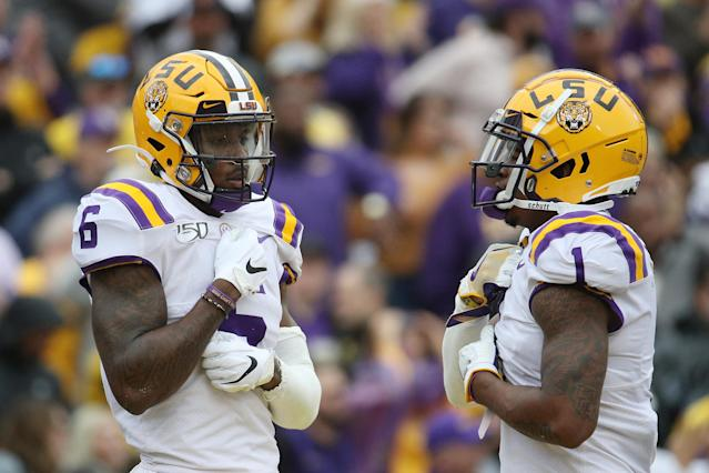LSU WRs Terrace Marshall Jr. (L) and Ja'Marr Chase could be the Tigers' latest first-round picks in 2021. (Photo by Chris Graythen/Getty Images)