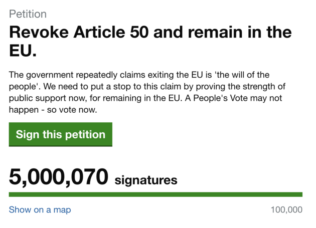 The petition surpassed 5 million signatures on Sunday.