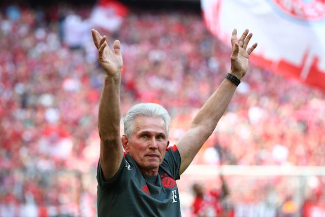 Soccer Football - Bundesliga - Bayern Munich v VfB Stuttgart - Allianz Arena, Munich, Germany - May 12, 2018 Bayern Munich coach Jupp Heynckes before the match REUTERS/Michael Dalder DFL RULES TO LIMIT THE ONLINE USAGE DURING MATCH TIME TO 15 PICTURES PER GAME. IMAGE SEQUENCES TO SIMULATE VIDEO IS NOT ALLOWED AT ANY TIME. FOR FURTHER QUERIES PLEASE CONTACT DFL DIRECTLY AT + 49 69 650050