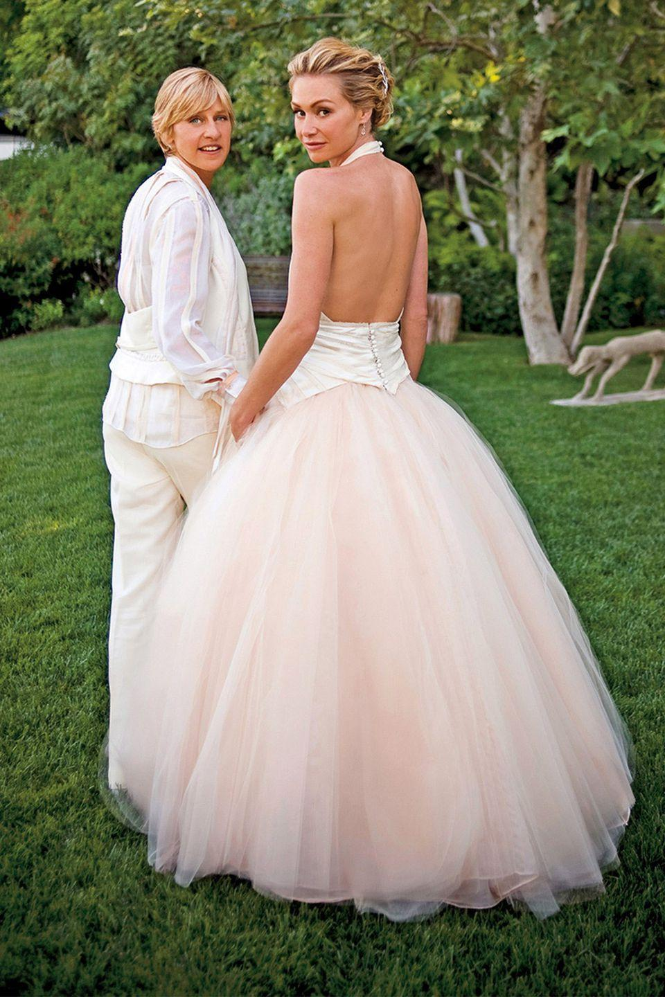 <p>The actress wed Ellen DeGeneres in a blush-pink ballgown with a high halter and cloud-like tulle skirt by Zac Posen. Simultaneously modern and romantic, it was fit for a fairytale.</p>