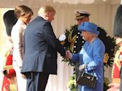 """<p>Here is Trump meeting the Queen for the first time at Windsor Castle. The pair watched a military parade and had tea together during his 2018 trip. <a href=""""https://www.townandcountrymag.com/society/tradition/g22141700/donald-trump-queen-elizabeth-visit-photos/"""" rel=""""nofollow noopener"""" target=""""_blank"""" data-ylk=""""slk:See more photos from their visit here."""" class=""""link rapid-noclick-resp"""">See more photos from their visit here.</a></p>"""