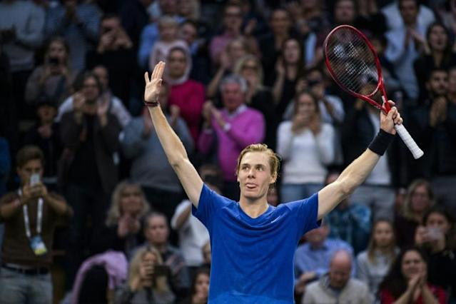 Denis Shapovalov celebrates his first ATP title at the Stockholm Open (AFP Photo/Jonathan NACKSTRAND)