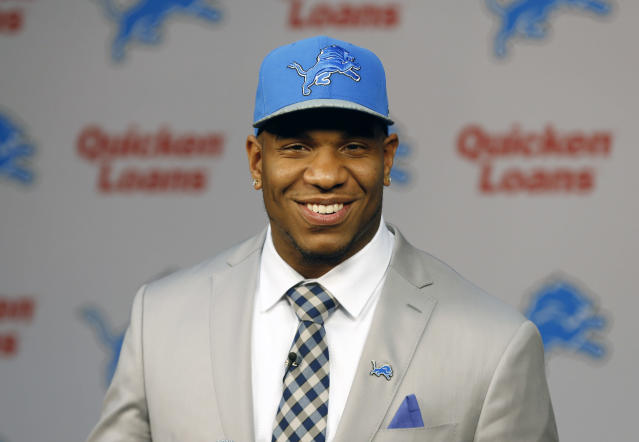 Detroit Lions NFL football first-round draft choice, 10th overall, North Carolina tight end Eric Ebron speaks during a news conference in Allen Park, Mich., Friday, May 9, 2014. (AP Photo/Paul Sancya)