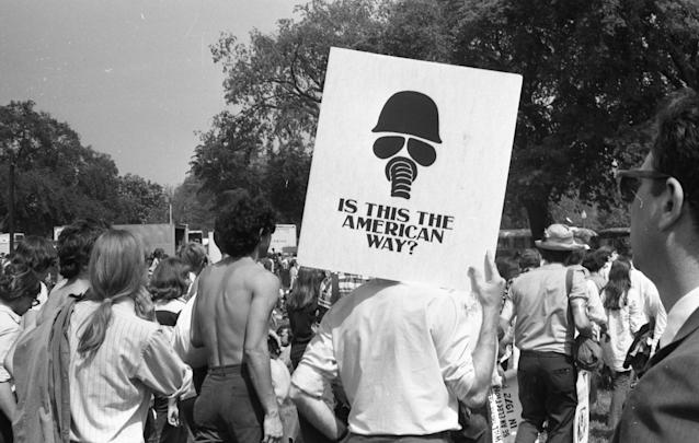 Protesters hold signs during a student strike and protest against the Vietnam War following the Kent State Massacre in 1970. (Gado/Getty Images)