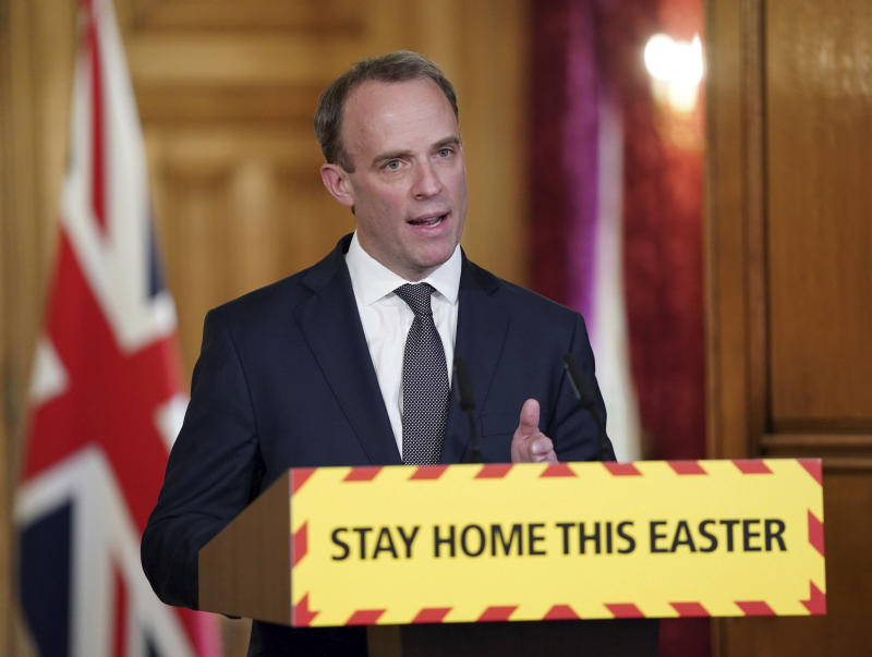 In this handout photo provided by 10 Downing Street, Britain's Foreign Secretary Dominic Raab speaks during a media briefing on coronavirus in Downing Street, London, Thursday, April 9, 2020. The new coronavirus causes mild or moderate symptoms for most people, but for some, especially older adults and people with existing health problems, it can cause more severe illness or death. (Pippa Fowles/10 Downing Street via AP)