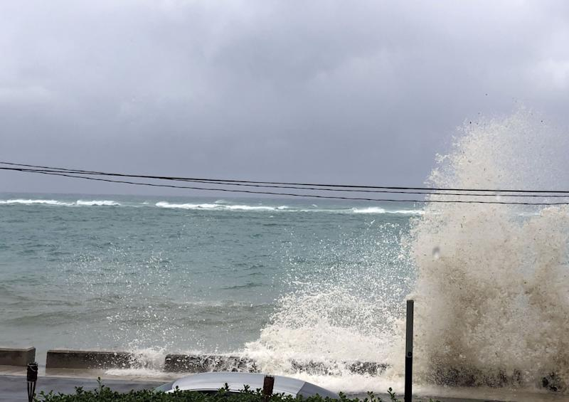 Ocean waves are seen during the approach of Hurricane Dorian on Sept. 1, 2019 in Nassau, Bahamas. (Photo: Lucy Worboys/AFP/Getty Images)