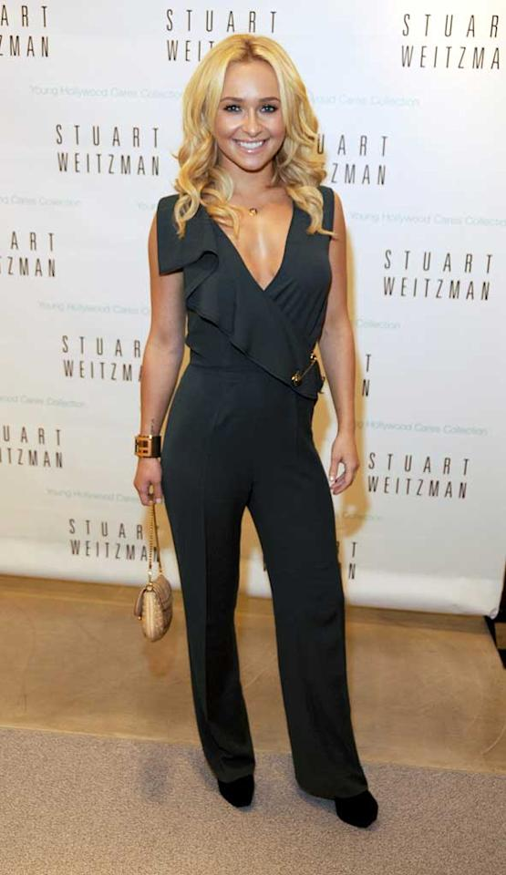 """Hayden Panettiere sported a Fendi jumpsuit, as well as black suede booties from Stuart Weitzman's Young Hollywood Cares Collection, at Weitzman's shop on Madison Avenue in Manhattan. Proceeds from the line benefit ovarian cancer research. """"It makes you feel much better about indulging in guilty pleasures, like shopping,"""" she said. Alli Harvey/<a href=""""http://www.gettyimages.com/"""" target=""""new"""">GettyImages.com</a> - September 8, 2011"""