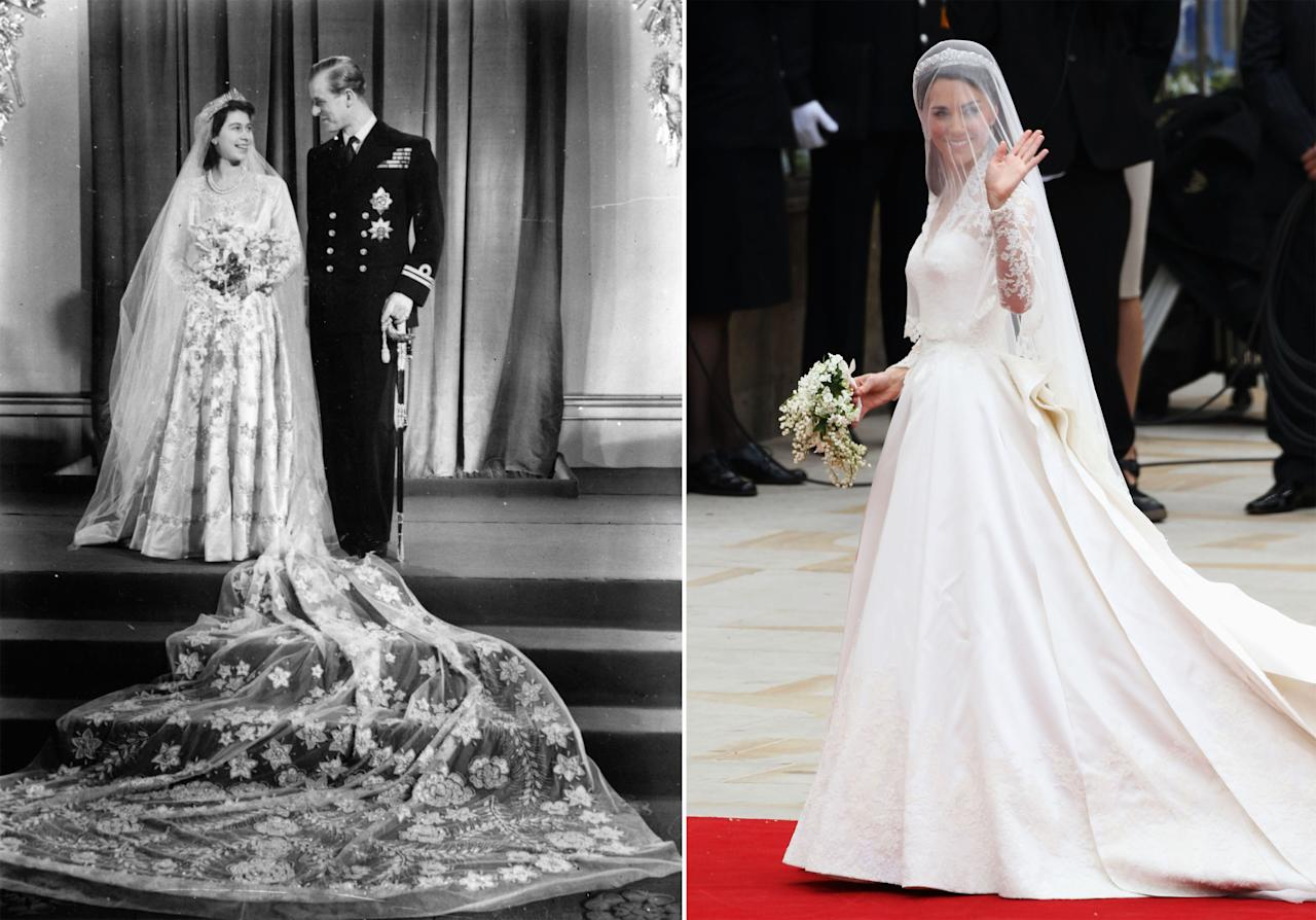 <p>We'll always love a long, flowing veil. For her wedding to Prince Philip<span></span>, Queen Elizabeth, pictured on the left, famously saved up ration cards to buy her dress and veil. Today, the romantic trend continues, as seen on the Queen's granddaughter-in-law, Catherine, Duchess of Cambridge<span>.</span></p>