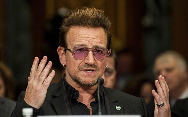 Bono, singer for the band U2, speaks during a Senate Appropriations subcommittee hearing in Washington, D.C. in 2016 - © 2016 Bloomberg Finance LP