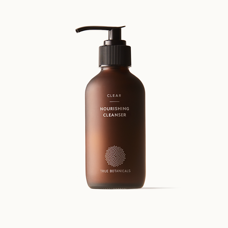 """<p>Face washes that target acne are often formulated with <a href=""""https://www.allure.com/story/what-does-salicylic-acid-do?mbid=synd_yahoo_rss"""" rel=""""nofollow noopener"""" target=""""_blank"""" data-ylk=""""slk:salicylic acid"""" class=""""link rapid-noclick-resp"""">salicylic acid</a> for an overall purifying effect. However, if you're pregnant, steer clear of the pore-clearer. """"Salicylic acid is related to aspirin, and we know that aspirin is off-limits during pregnancy due to the risk of intracranial bleeding and or <a href=""""https://www.mayoclinic.org/diseases-conditions/reyes-syndrome/symptoms-causes/syc-20377255"""" rel=""""nofollow noopener"""" target=""""_blank"""" data-ylk=""""slk:Reye's Syndrome"""" class=""""link rapid-noclick-resp"""">Reye's Syndrome</a> (a rare condition that can cause swelling in the liver and brain,)"""" Del Campo explains. </p> <p>Replace salicylic acid altogether with a natural derivative that's equally as effective. Enter, black willow bark extract, which is at the heart of True Botanicals' Clear Nourishing Cleanser. """"Salicylic acid is not safe during pregnancy but willow bark is,"""" Del Campo says. """"It has the same anti-inflammatory effects, but does not have a risk of Reye's Syndrome."""" </p> <p>This balancing cleanser gently exfoliates, while the antioxidants from green and white teas protect skin, and helichrysum — an essential oil with anti-inflammatory and antibacterial properties — clears away fungus and soothes irritation.</p>"""