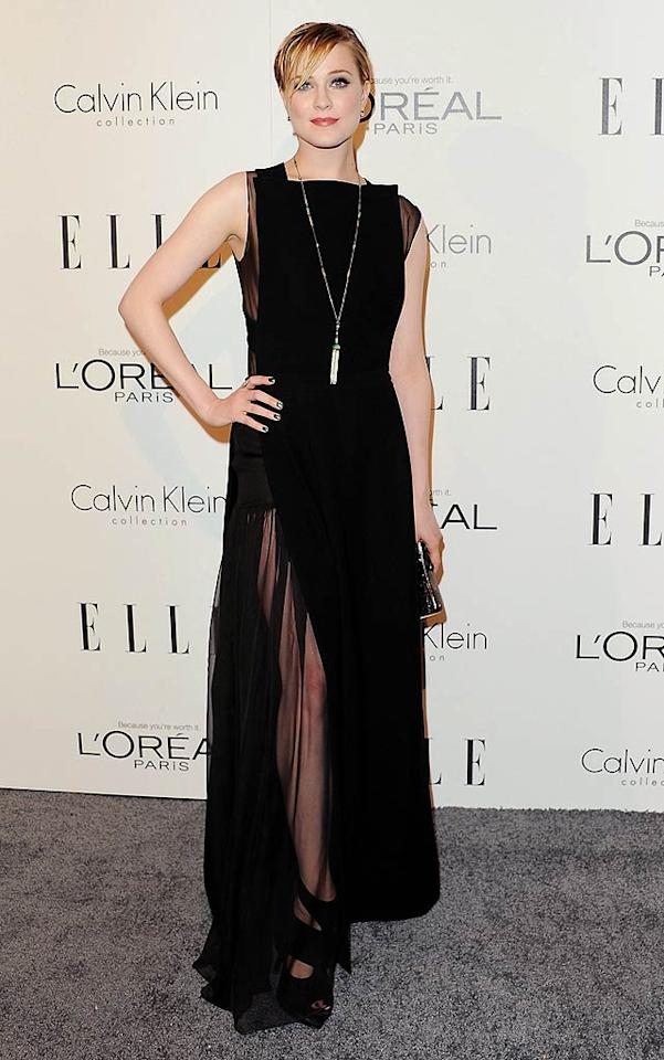 Following in Pfeiffer's footsteps was the equally glamorous Evan Rachel Wood, who nearly stole the spotlight upon arriving at the Four Seasons Hotel in Beverly Hills, California, in a sleeveless Alessandra Rich gown, Giuseppe Zanotti heels, and statement necklace. (10/17/11)
