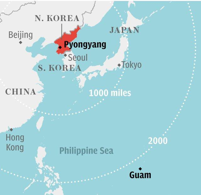 Map: Guam in relation to North Korea