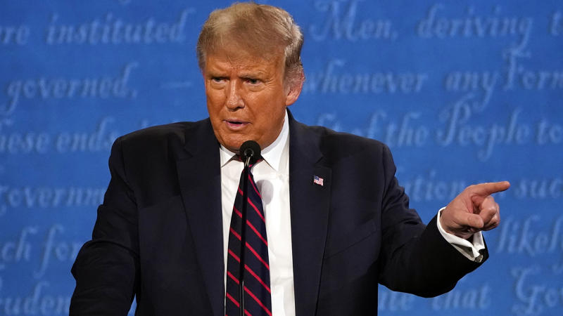 President Donald Trump speaks during the first presidential debate with Democratic presidential candidate former Vice President Joe Biden Tuesday, Sept. 29, 2020, at Case Western University and Cleveland Clinic, in Cleveland. (Julio Cortez/AP)