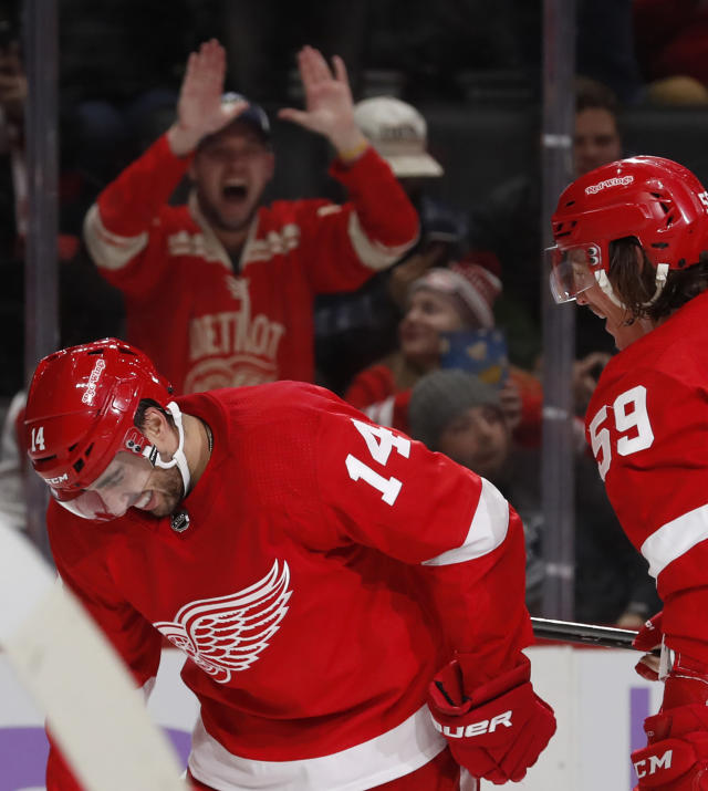 Detroit Red Wings center Robby Fabbri (14) reacts after scoring his second goal of the night during the second period of an NHL hockey game against the Boston Bruins, Friday, Nov. 8, 2019, in Detroit. (AP Photo/Carlos Osorio)