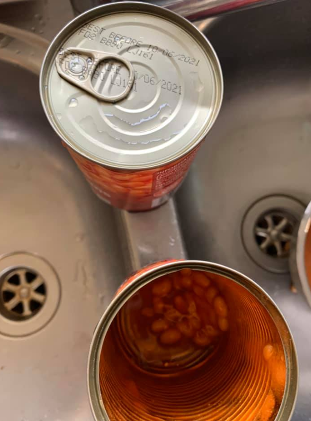 An expiration date of 2021 is seen printed on top of the baked beans cans. Source: Facebook