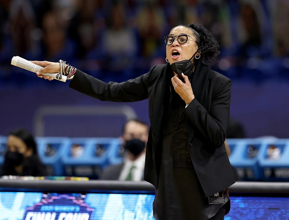 Head coach Dawn Staley of the South Carolina Gamecocks directs her team against the Stanford Cardinals.