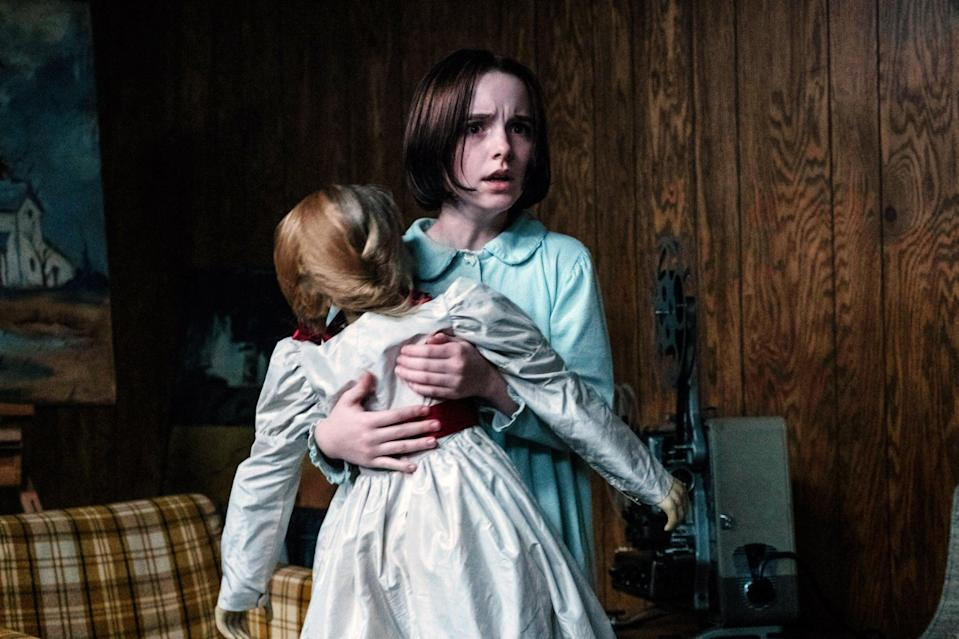 """<p>Once Annabelle is locked away in their mysterious artifacts room, Ed and Lorraine Warren head off to investigate another case, leaving their daughter in the care of a babysitter. Annabelle lures the babysitter into the artifacts room as it springs to life, causing those in the house to fight for survival. The artifacts room features a number of paranormal """"souvenirs"""" confiscated from the Warrens' previous investigations, including the music box from <strong>The Conjuring</strong>.</p>"""