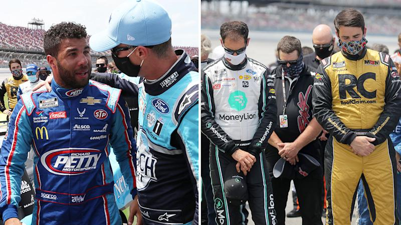 Pictured here, NASCAR drivers show their support for Bubba Wallace.
