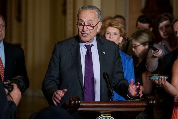 PHOTO: Senate Majority Leader Chuck Schumer offers remarks during a press conference following the Democrat Senate luncheon at the US Capitol, June 15, 2021, in Washington, D.C. (Rod Lamkey/CNP via Polaris)