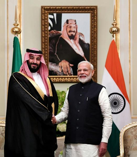 Indian Prime Minister Narendra Modi was among an all-star line-up of speakers cheerleading Saudi Crown Prince Mohammed bin Salman's reforms (AFP Photo/Handout)