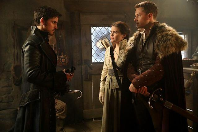 Colin O'Donoghue as Hook, Ginnifer Goodwin as Snow, and Josh Dallas as Charming in ABC's 'Once Upon a Time' (Photo: Jack Rowand/ABC)