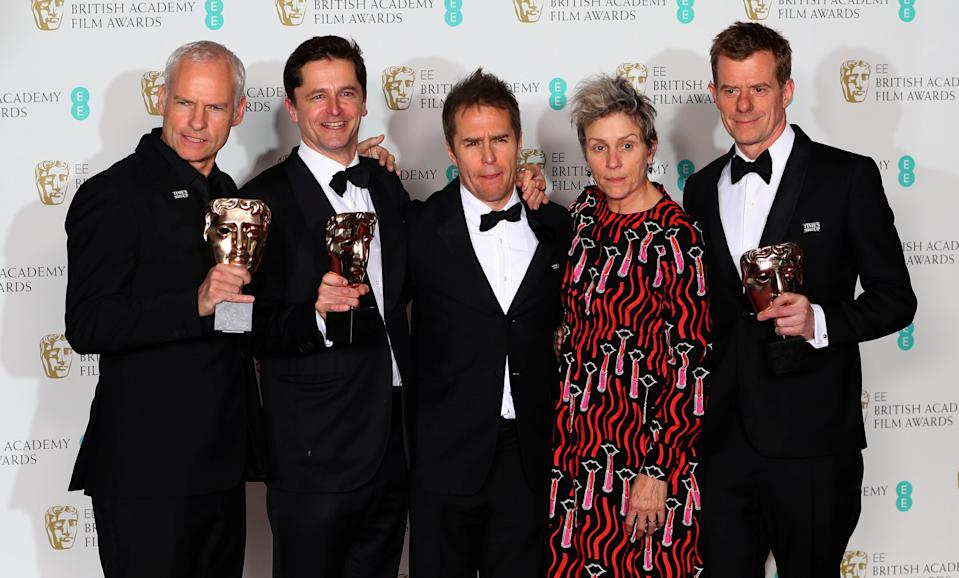 Martin McDonagh, Peter Czernin, Sam Rockwell and Graham Broadbent, with Frances McDormand, as they hold their trophies for Best Film for <i>Three Billboards Outside Ebbing Missouri</i> at BAFTA 2018.