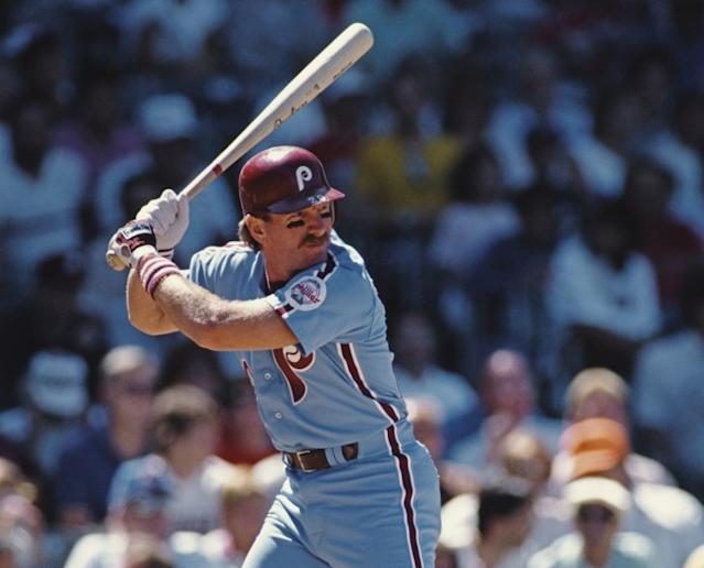 """Mike Schmidt, seen here in 1988, hit the winning home run for the Phillies in their 23-22, 10-inning victory over the Cubs on May 17, 1979, at Wrigley Field. <span class=""""copyright"""">(Jonathan Daniel / Allsport / Getty Images)</span>"""