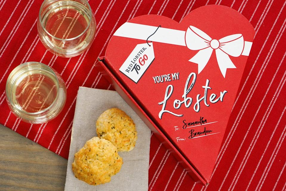 """Starting February 10, Red Lobster will be offering a """"You're My Lobster"""" box for their Cheddar Bay Biscuits."""