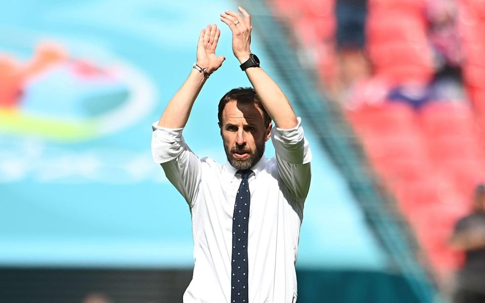 For editorial news reporting purposes only. Images must appear as still images and must not emulate match action video footage. Photographs published in online publications shall have an interval of at least 20 seconds between the posting.) Mandatory Credit: Photo by Andy Rain/POOL/EPA-EFE/Shutterstock (12071214co) England manager Gareth Southgate applauds the fans after the UEFA EURO 2020 group D preliminary round soccer match between England and Croatia in London, Britain, 13 June 2021 - Andy Rain/POOL/EPA-EFE/Shutterstock