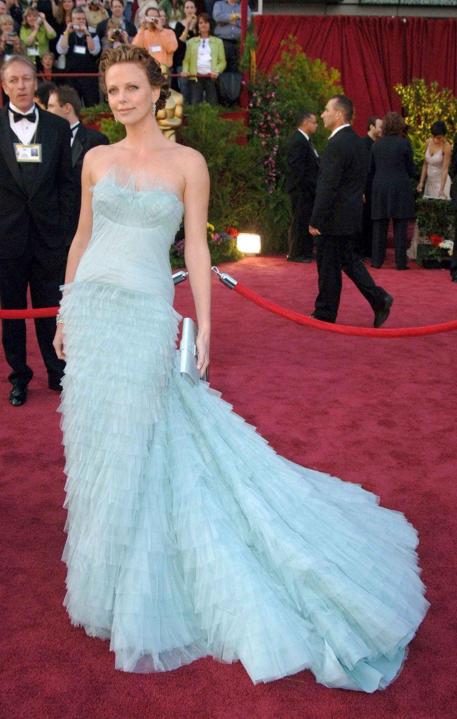 <p>Charlize Theron in an egg-blue John Galliano for Christian Dior gown.</p>