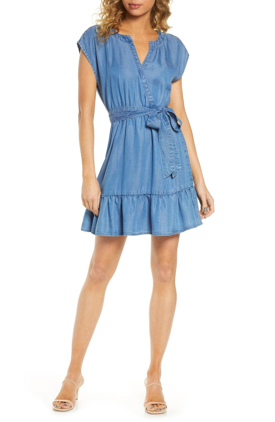 "<p>The tie waist on this <a href=""https://www.popsugar.com/buy/BB-Dakota-Ruffle-Hem-Chambray-Wrap-Minidress-582014?p_name=BB%20Dakota%20Ruffle%20Hem%20Chambray%20Wrap%20Minidress&retailer=shop.nordstrom.com&pid=582014&price=99&evar1=fab%3Aus&evar9=35329485&evar98=https%3A%2F%2Fwww.popsugar.com%2Ffashion%2Fphoto-gallery%2F35329485%2Fimage%2F47550220%2FBB-Dakota-Ruffle-Hem-Chambray-Wrap-Minidress&list1=shopping%2Cdenim%2Csummer%20fashion%2Cfashion%20shopping&prop13=mobile&pdata=1"" class=""link rapid-noclick-resp"" rel=""nofollow noopener"" target=""_blank"" data-ylk=""slk:BB Dakota Ruffle Hem Chambray Wrap Minidress"">BB Dakota Ruffle Hem Chambray Wrap Minidress</a> ($99) is so flattering.</p>"