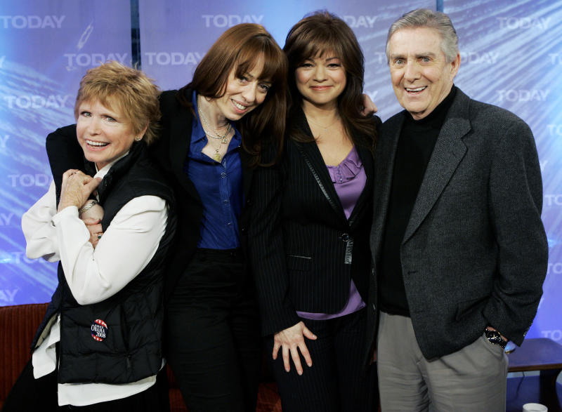 """FILE - This Feb. 26, 2008 file photo shows, from left, Bonnie Franklin, MacKenzie Phillips, Valerie Bertinelli and Pat Harrington of the 1970's television sitcom """"One Day at a Time, """" on the NBC """"Today"""" television program in New York.  Franklin, the pert, redheaded actress whom millions came to identify with for her role as divorced mom Ann Romano on the long-running sitcom """"One Day at a Time,""""  died Friday, March 1, 2013, at her home due to complications from pancreatic cancer, family members said. She was 69. Her family had announced she was diagnosed with cancer in September. (AP Photo/Richard Drew, file)"""