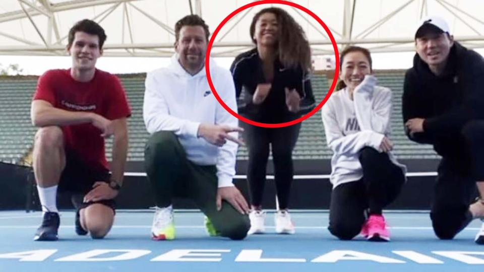 Naomi Osaka, pictured here training with her team in Adelaide.