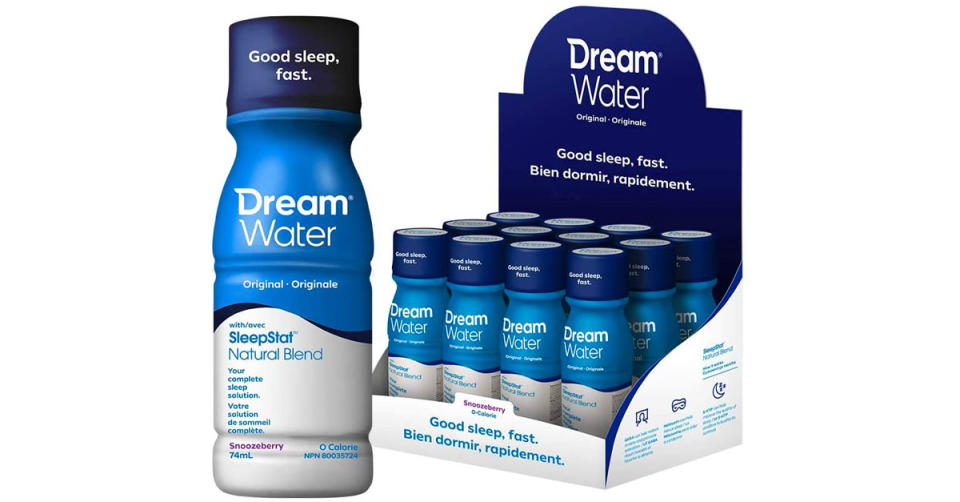 Dream Water Sleep Aid with GABA, Melatonin, 5-HTP and Snoozeberry is 25 percent off for a 12 pack. (Photo: Amazon)