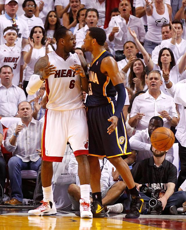 MIAMI, FL - MAY 15: LeBron James #6 of the Miami Heat argues with Danny Granger #33 of the Indiana Pacers during Game Two of the Eastern Conference Semifinals in the 2012 NBA Playoffs at AmericanAirlines Arena on May 15, 2012 in Miami, Florida. NOTE TO USER: User expressly acknowledges and agrees that, by downloading and/or using this Photograph, User is consenting to the terms and conditions of the Getty Images License Agreement. (Photo by Mike Ehrmann/Getty Images)
