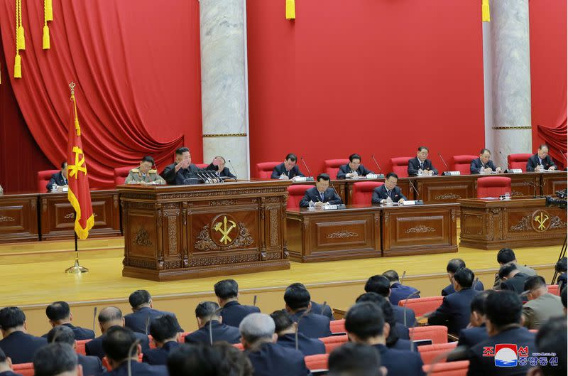 North Korean leader Kim Jong Un speaks during the 5th Plenary Meeting of the 7th Central Committee of the Workers' Party of Korea