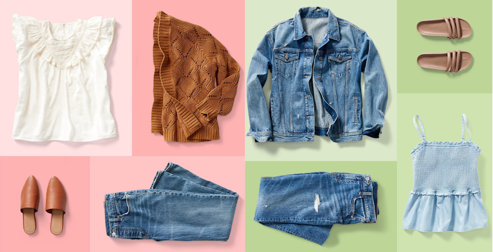 Collage of women's fall styles from Old Navy on a pink and green background.