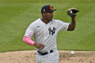 """New York Yankees' Miguel Andujar wears an arm sleeve that reads """"Thanks Mom"""" during the seventh inning of a baseball game against the Washington Nationals at Yankee Stadium, Sunday, May 9, 2021, in New York. (AP Photo/Seth Wenig)"""